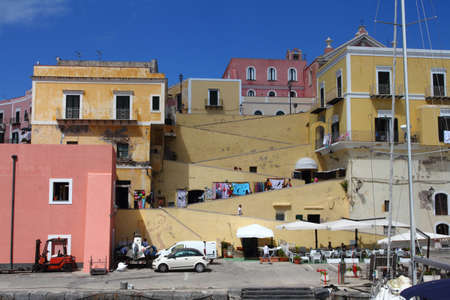 pontine: colorful houses on the island of Ventotene Editorial