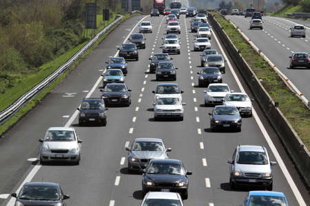 highway traffic: the traffic on highway Editorial