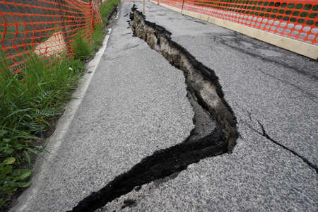 earthquake crack: the landslide after the earthquake Stock Photo