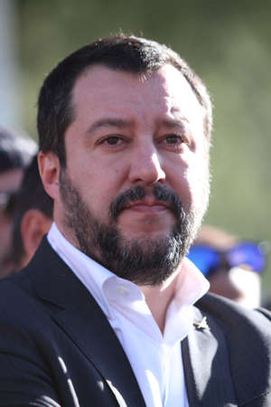 Roccasecca, Italy - January 18, 2018 - Matteo Salvini meets the workers of the Ideal Standard factory Editorial