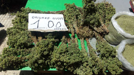 bundles of oregano for sale on the Sicilian market counter in Palermo