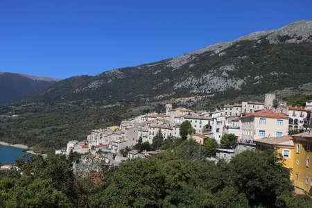 Barrea, Italy - 12 October 2019: Lake Barrea and the mountain village