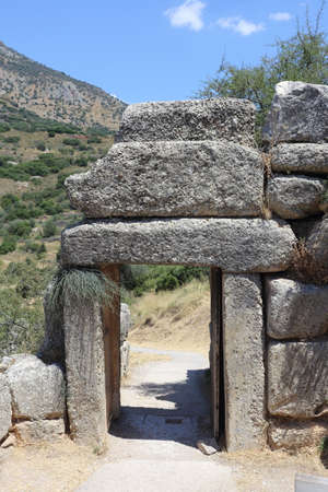 Mycenae, Greece - 24 July 2019: The archaeological site of the ancient city of Mycenae in Argolida