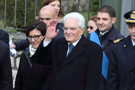 Mignano Monte Lungo - Italy, 8 December 2018: The President of the Italian Republic Sergio Mattarella celebrates the 75th anniversary of the Battle of Montelungo -