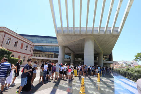 Athens, Greece - July 21, 2019: The entrance to the new Acropolis Museum with tourists lined up for the ticket office Editoriali