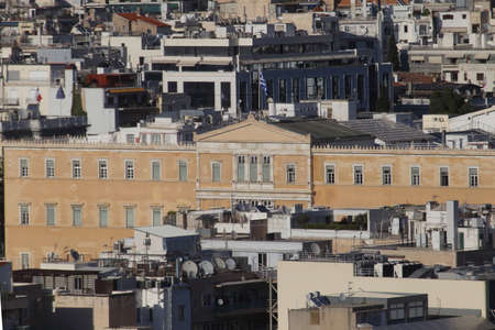 Athens, Greece - July 20, 2019: The seat of the Hellenic parliament photographed from the acropolis Editoriali
