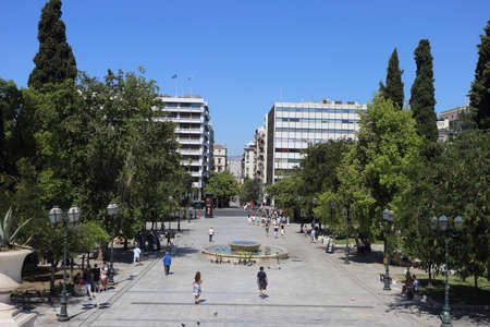 Athens, Greece - July 20, 2019: Syntagmache Square opens in front of the Hellenic Parliament