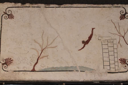 Capaccio Paestum, Italy - April 25, 2014: Detail of the cover slab of the Tuffatore's tomb