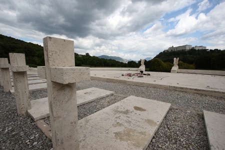 Cassino, Italy - May 18, 2011: The Montecassino abbey seen from the Polish war military cemetery
