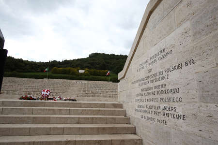Cassino, Italy - May 18, 2011: The Polish war military cemetery in Montecassino with tourists