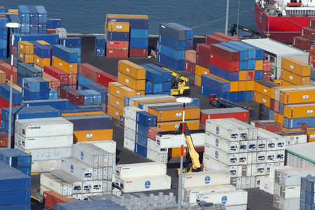 Salerno, Italy - July 1, 2017: shipping containers in the port of Salerno Editoriali