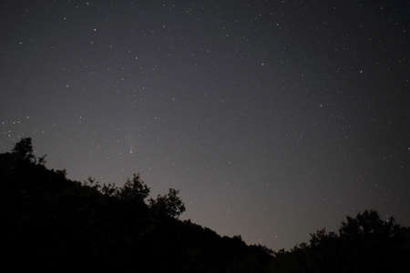 The starry sky at night and the neowise 2020 comet