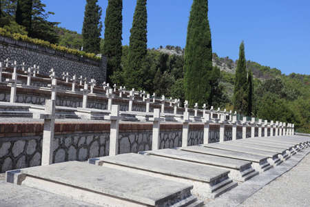 Mignano MonteLungo, Italy - August 14, 2020: The military cemetery which contains the remains of 974 Italian soldiers who died during the fighting in the
