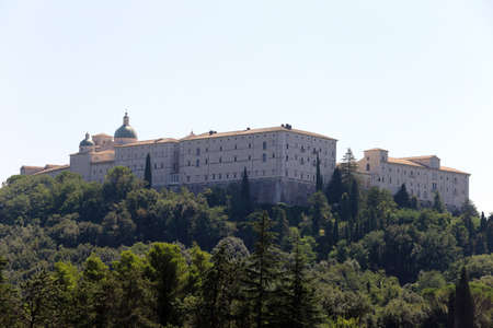 Cassino, Italy - August 14, 2020: View of Montecassino Abbey from the Polish Military Cemetery