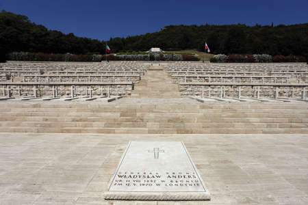 Cassino, Italy - August 14, 2020: The Polish military cemetery of Montecassino where more than a thousand soldiers of the second Polish army corps are Editoriali