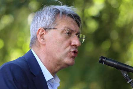 Cassino, Italy - July 25, 2020: Maurizio Landini's intervention in the municipal villa for the 100th anniversary of the CGIL in the city Editoriali