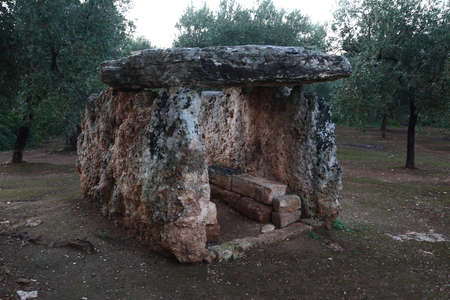 Fasano, Italy - October 6, 2010: the megalithic structure dolmen of Montalbano in the locality of Pisco Marano Editoriali