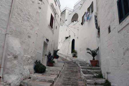 Ostuni, Italy - October 6, 2010: The famous old town of Ostuni also called the white city Editoriali
