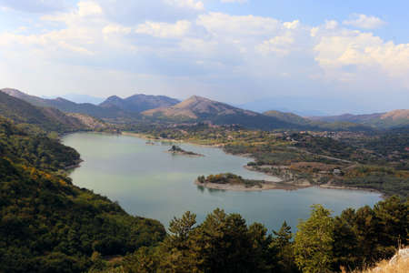 Panorama of Gallo Matese and the Gallo lake with a view from Letino