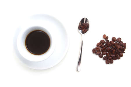 cup of coffee with spoon and coffee beans on white background