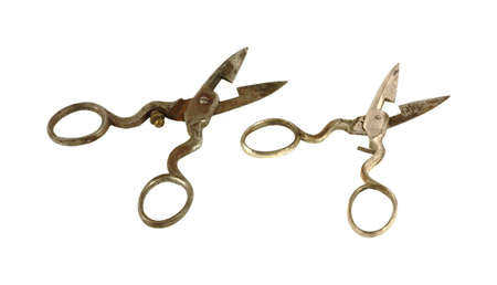 buttonhole:  A great view of two pairs of vintage buttonhole scissors.