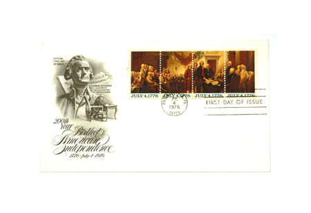Official First Day Issue of Birth American Independence stamps.
