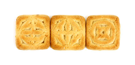 satisfying: Great view of three square cookies in a row.