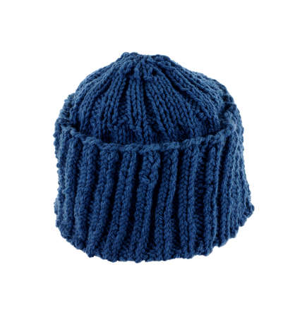 close knit: A close view of the finished blue knit cap.