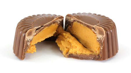 chocolate treats: A tempting view of a cut peanut butter cup.