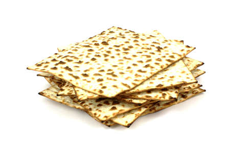 matzo: A great view of a stack of matzo crackers. Stock Photo