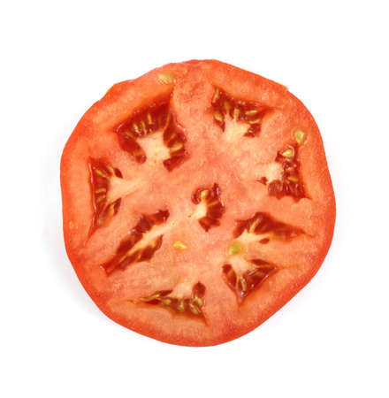 hot house: Overhead view of a slice of a hot house beefsteak tomato. Stock Photo