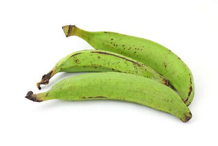 A group of three large plantain bananas. photo