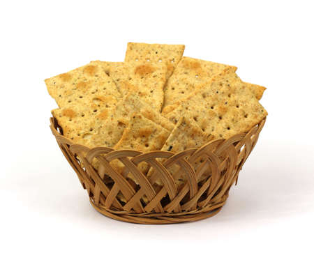 leavening: A small basket of crisp wheat crackers.