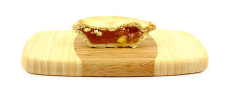A nice view of the flaky pie crust and juicy filling.  photo