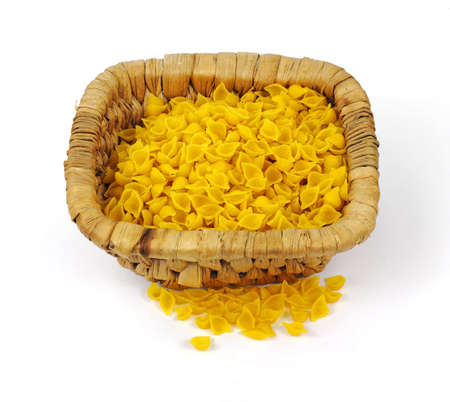 sturdy: Natural corn pasta shells in a sturdy woven basket.