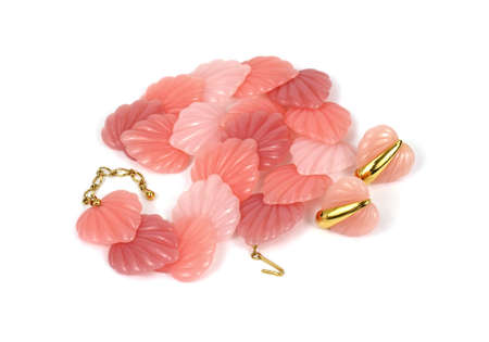 predominant: A vintage light weight plastic shell necklace and earrings. Stock Photo