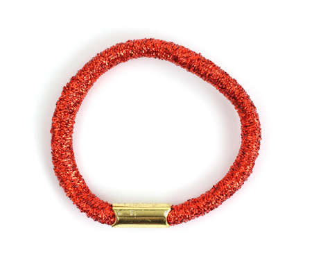 red metallic: A shiny red metallic stretchable hair ring.