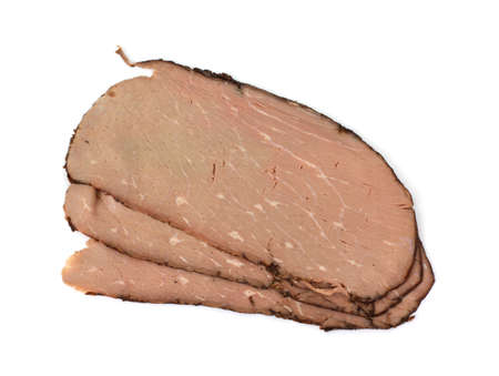 deli meat: Three pieces of deli sliced roast beef.