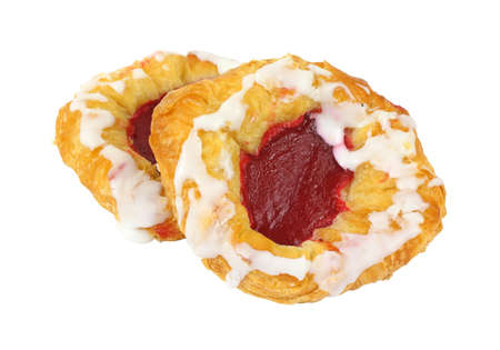 tempting: A pair of colorful tempting frosted raspberry tarts.