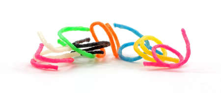 pliable: A front view of toy plastic pliable rings.