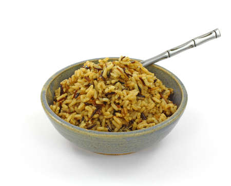 tempting: A tempting overhead view of cooked long grain rice.