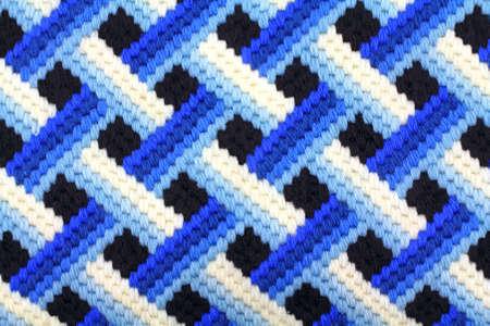 latticework: A bargello blue latticework design worked in yarn. Stock Photo