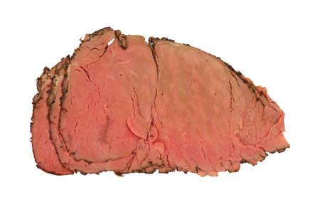 a rare: Three thin slices of rare roast beef. Stock Photo