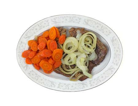chuck: An overhead view a platter of chuck steak and vegetables.