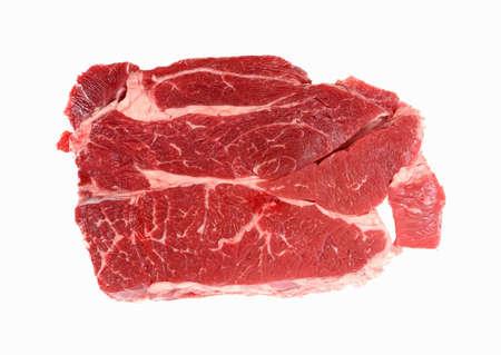 chuck: A nice overhead view of a fresh cut chuck steak.