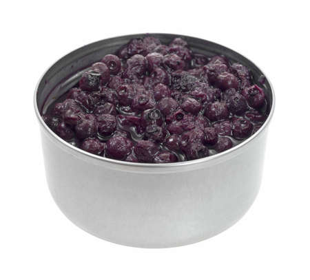 angle view: An angle view of juicy canned blueberries