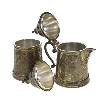 creamer: Silver plated sugar and creamer with lids open