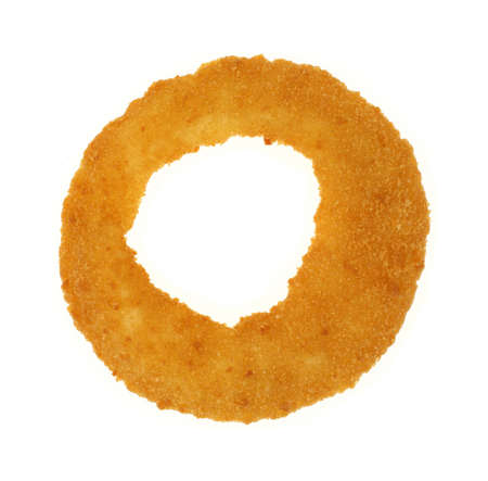 A cooked single whole prepared onion ring on white  photo