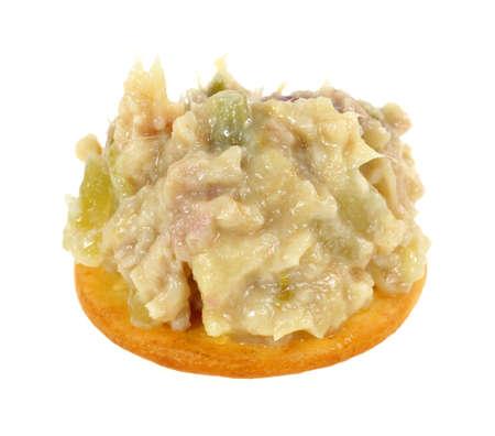 generoso: Una galleta de aperitivo con una generosa porci�n de ensalada de pollo Foto de archivo