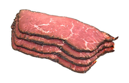 angle view: An angle view of a stack of pastrami slices  Stock Photo